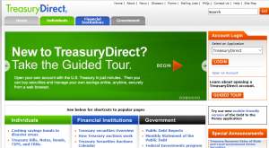 Picture of the front page of the Treasury Direct website