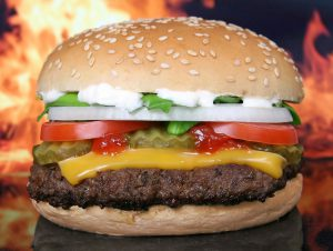 Hamburger with fire background
