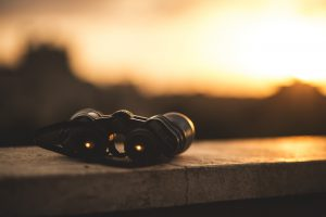 Binoculars on a ledge in the sun